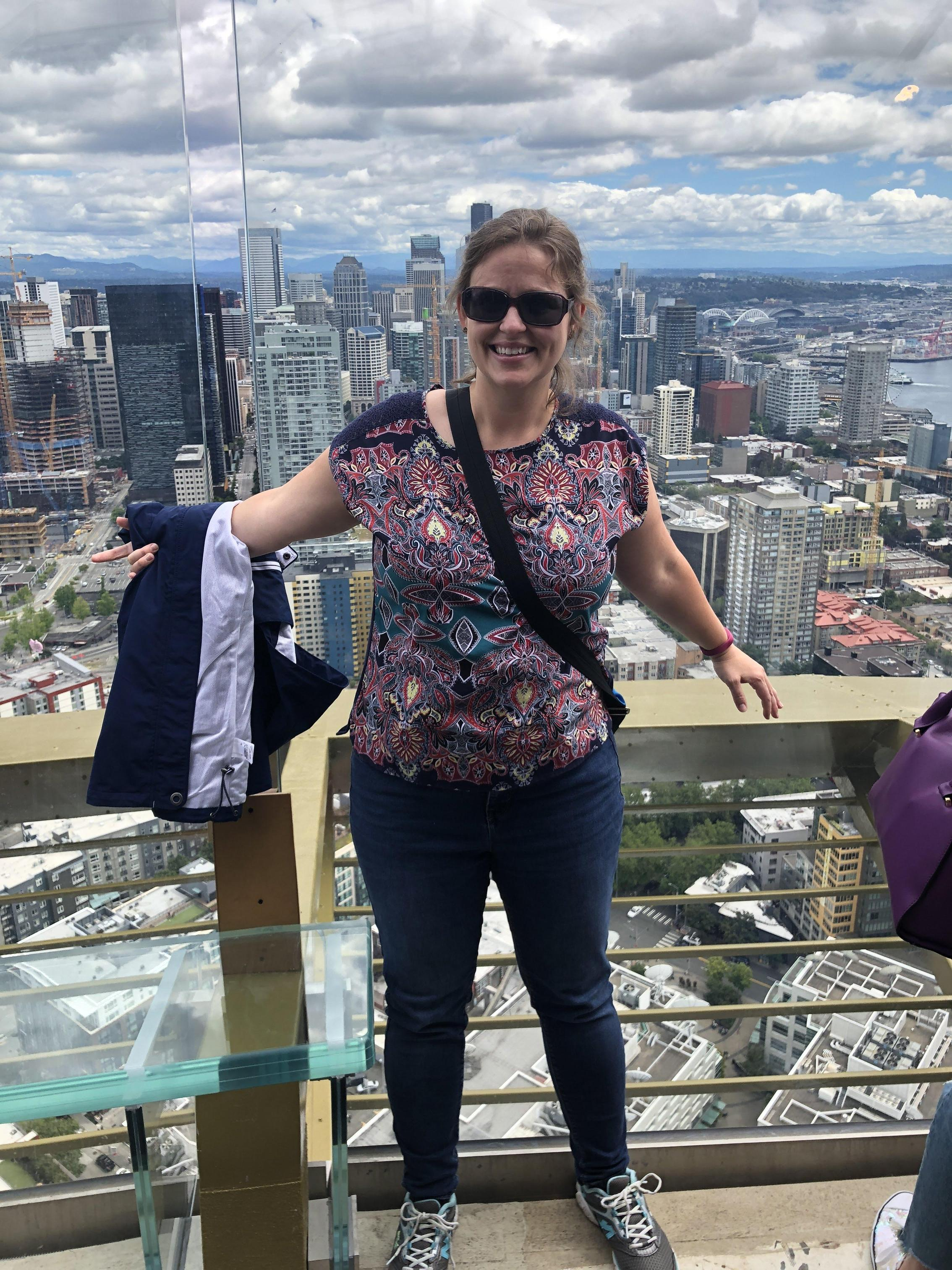 Mrs. Bricco on top of the Seattle Space Needle