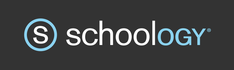 Words that spell out schoology in black & blue