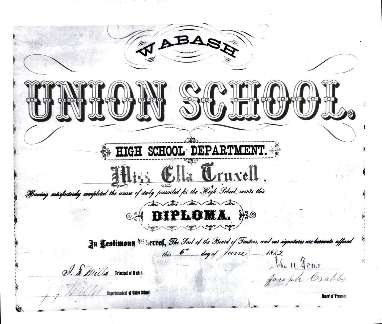 Ella Truxall Diploma