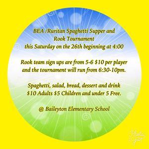 January 26th Spaghetti Dinner & Rook Tournament @ Baileyton School