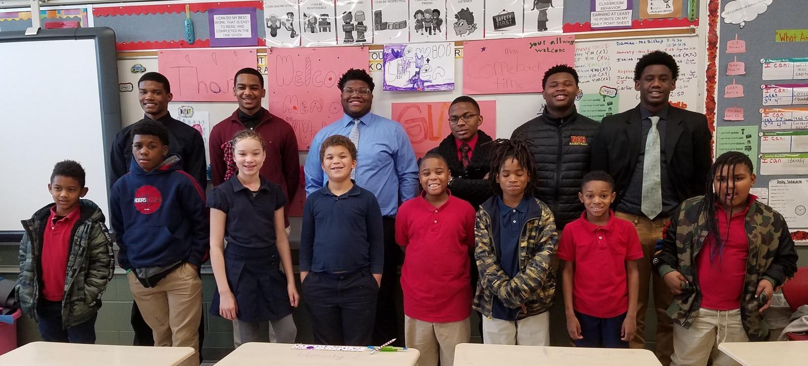 Men of Valor speaking to NCH 6th graders