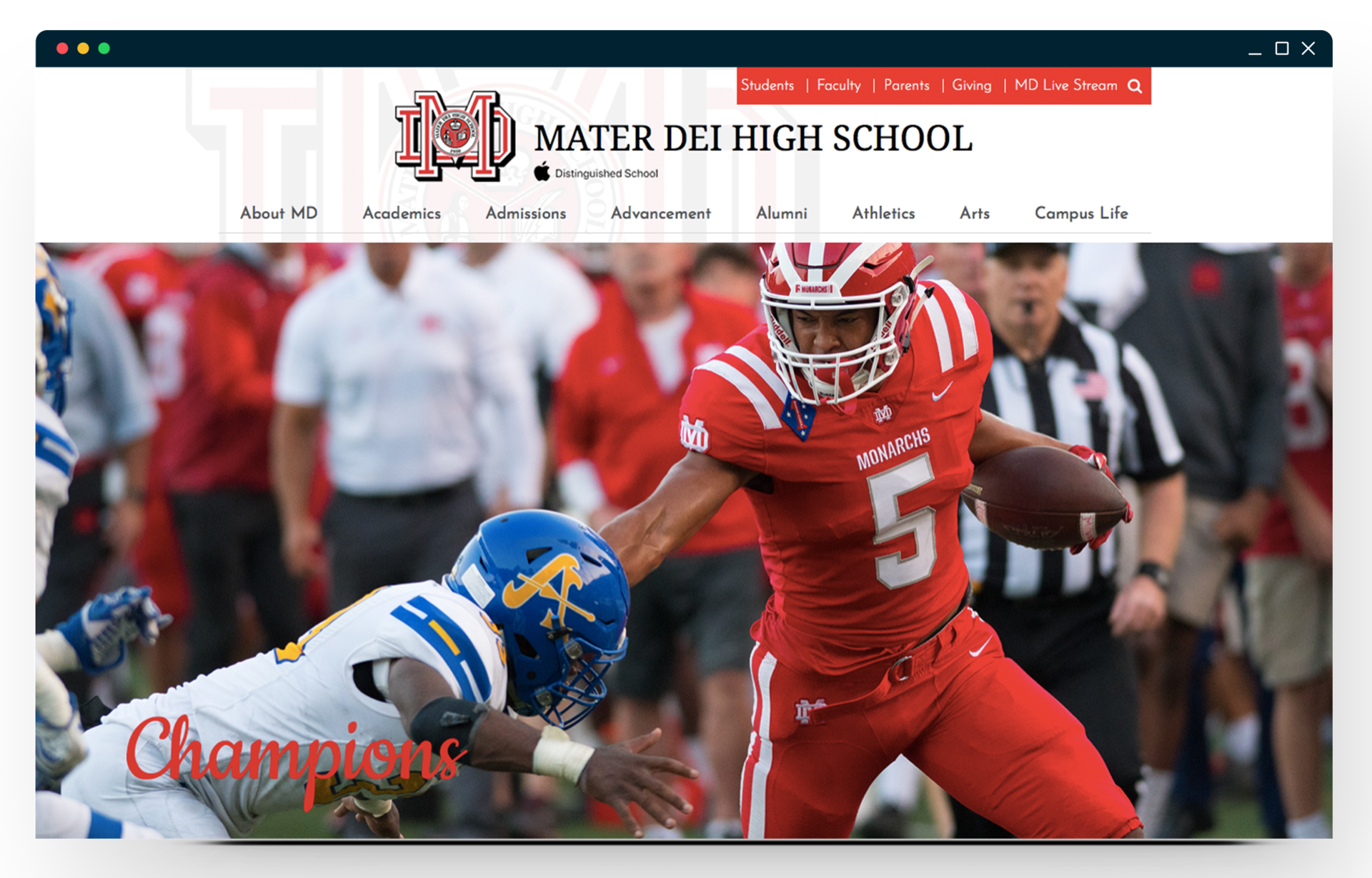mater dei high school's homepage