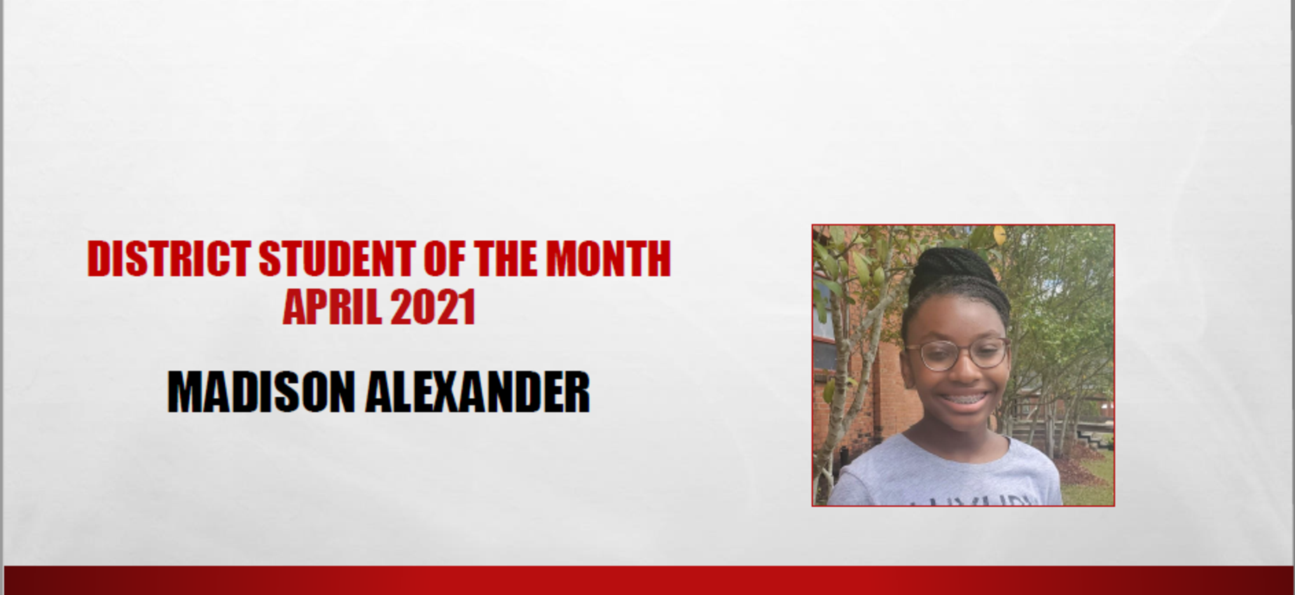 Madison Alexander April 2021 Student of the Month