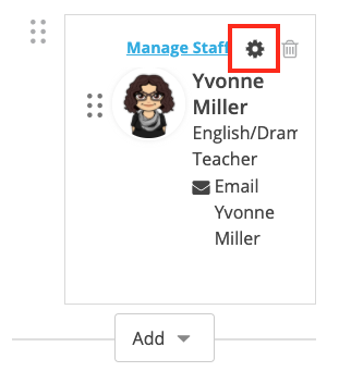 Screenshot of a staff member with the gear icon selected