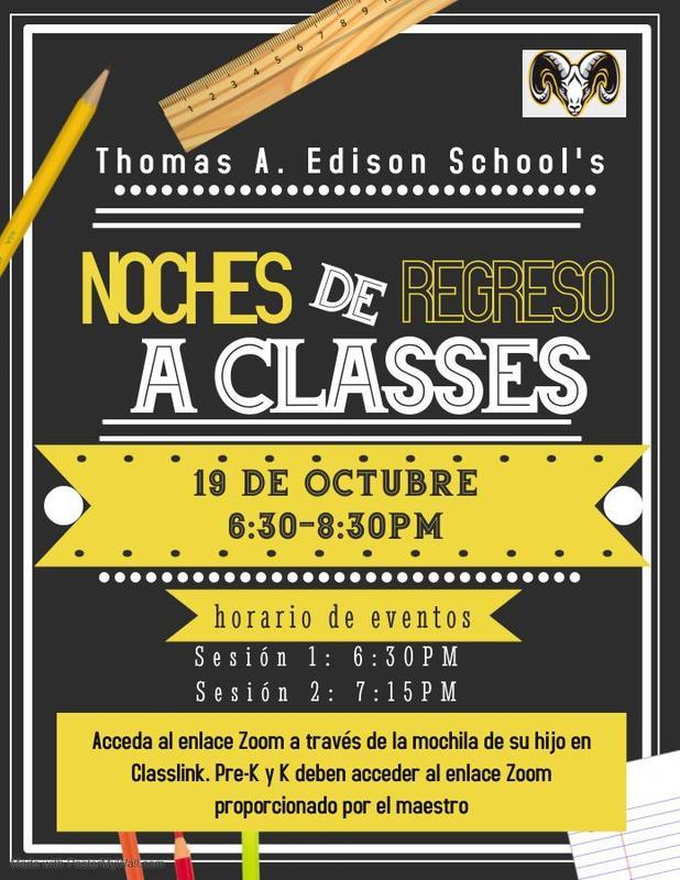 Back to School Night flyer in Spanish