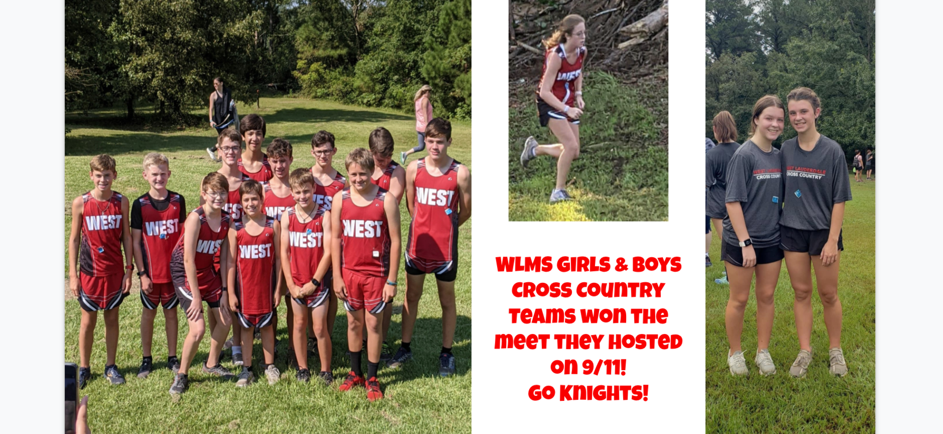 WLMS Cross Country Teams Won their meet on 9/11