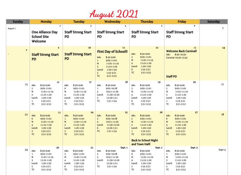 August 2021 Calendar Thumbnail Image