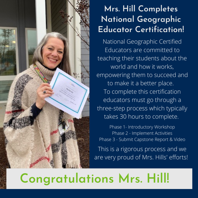 Mrs. Hills National Geographic Educator Certification