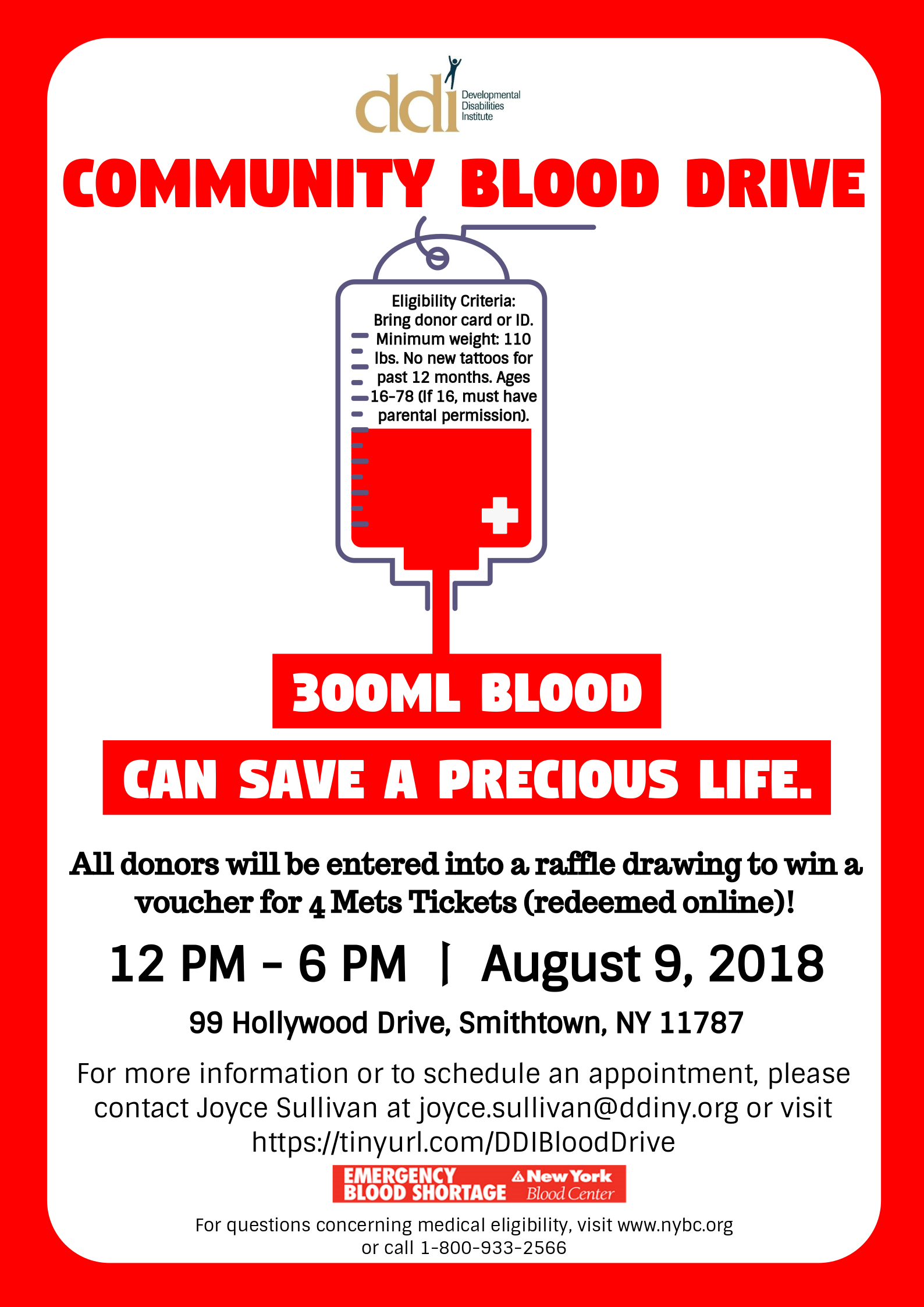 Blood Drive on 8/9 flyer
