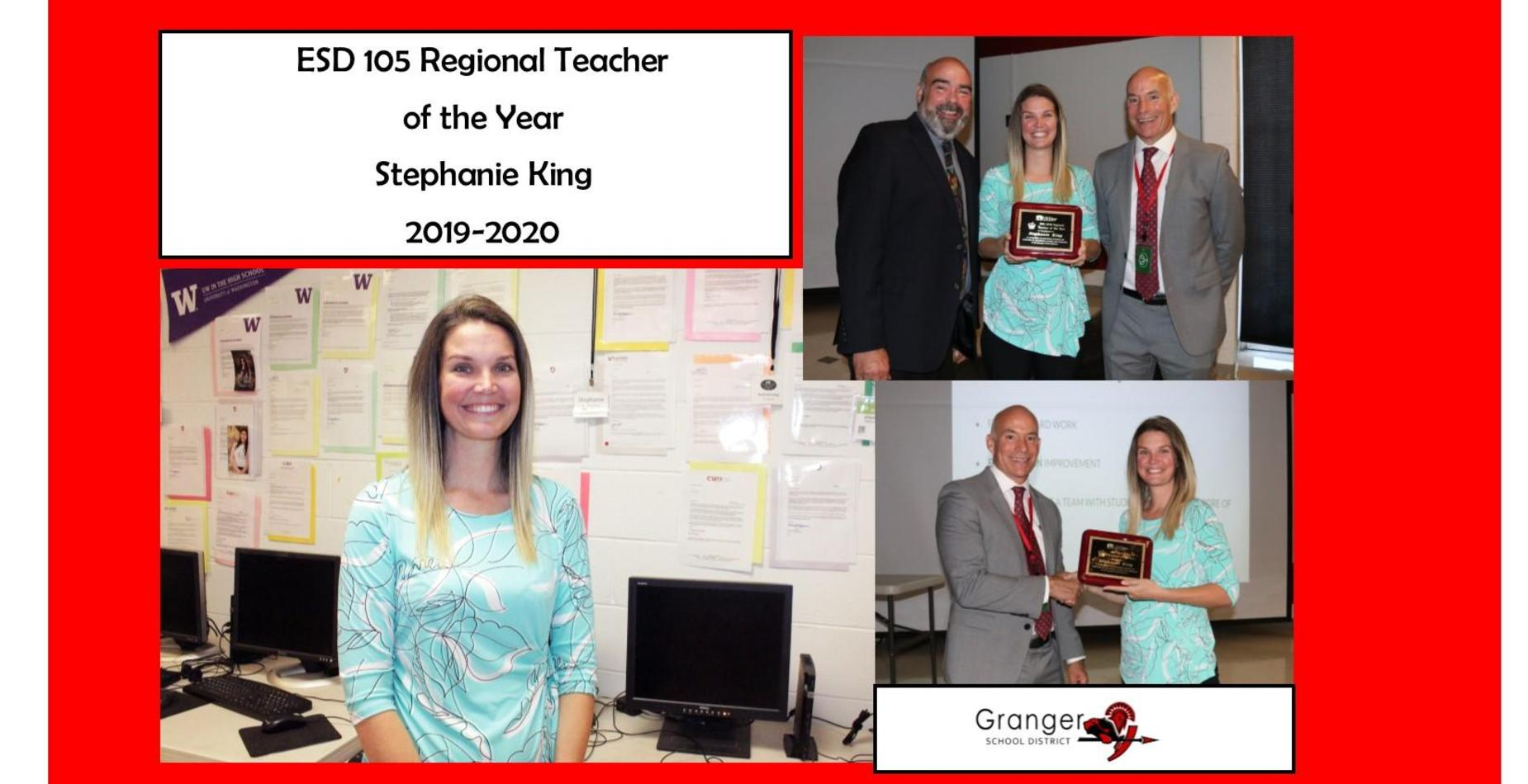 Pictures of Stephanie King, teacher of the year