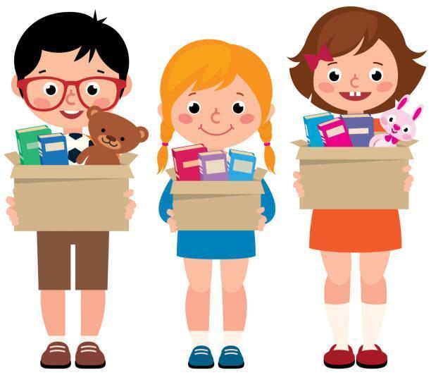 Children donating items