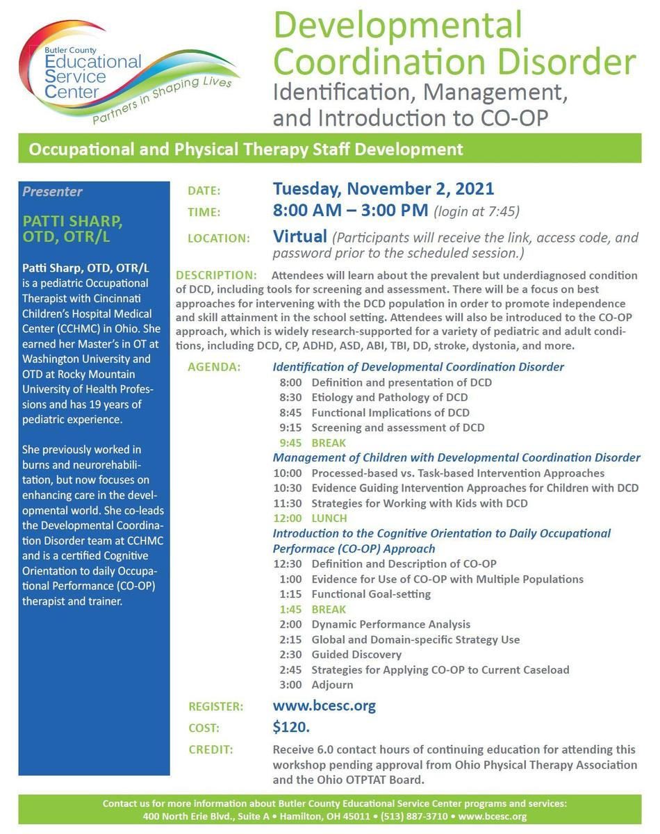 Developmental Coordination Disorder Identification, Management, and Introduction to CO-OP Flyer