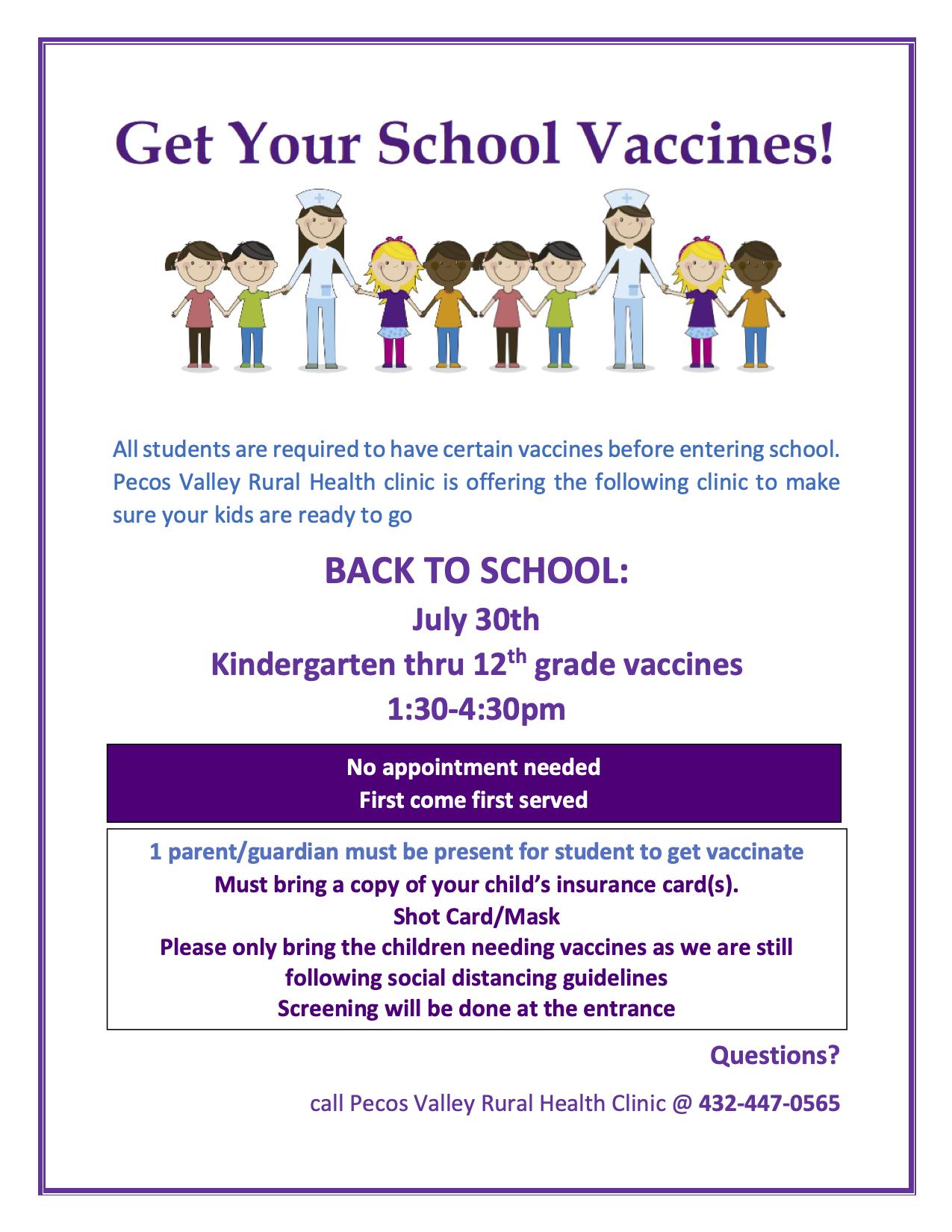 RCHD School Vaccines