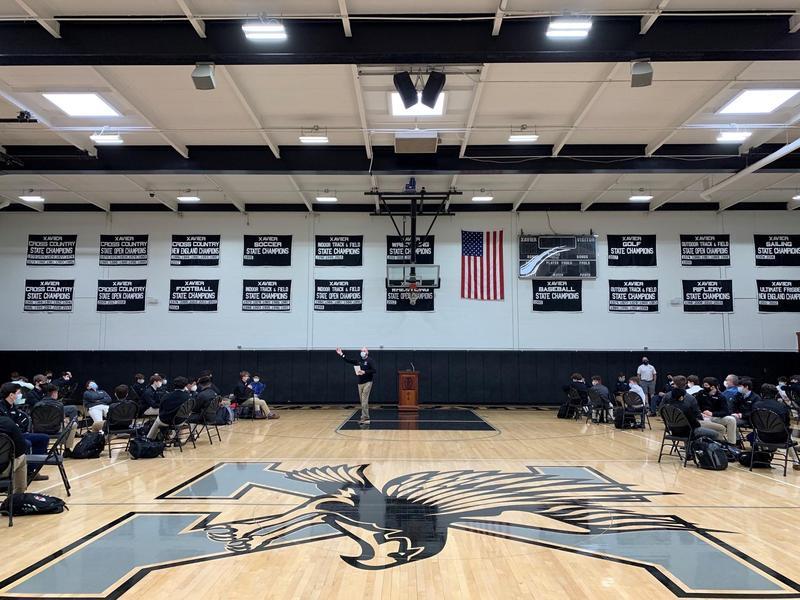 Freshman Leadership Day in the Xavier High School gym