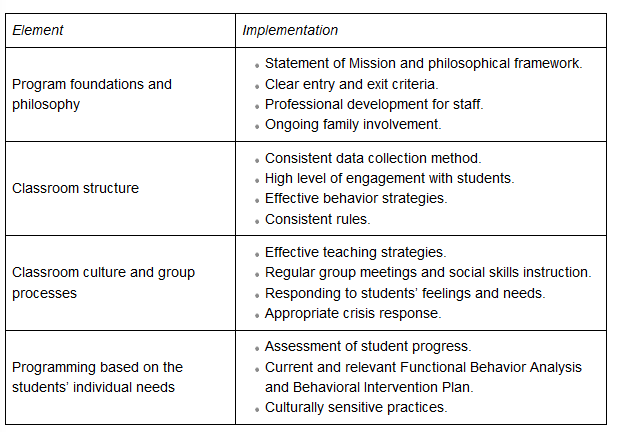 table with words explaining the program overview