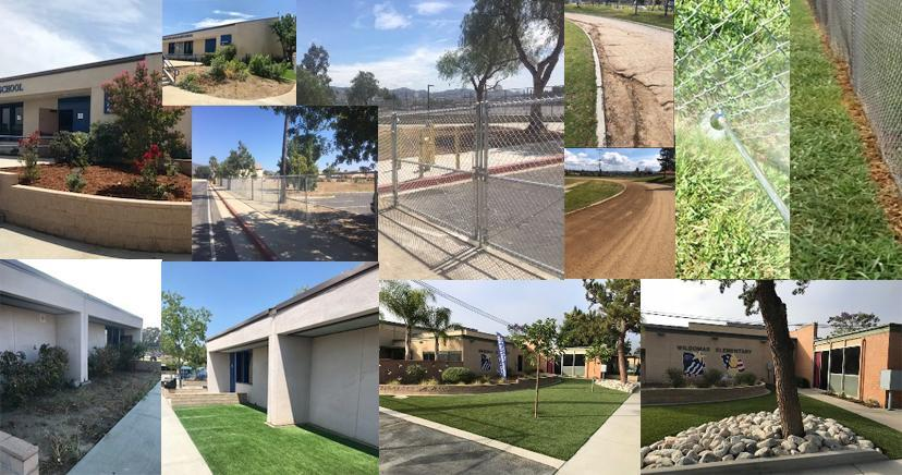 Grounds keeping project collage showing fencing, turf, synthetic turf, planters, track and field maintenance, and the like