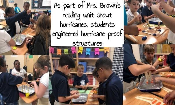 As part of Mrs. Brown's reading unit about hurricanes, students engineered hurricane proof structures
