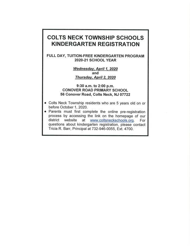 Colts Neck Township Schools - Kindergarten Registration Featured Photo