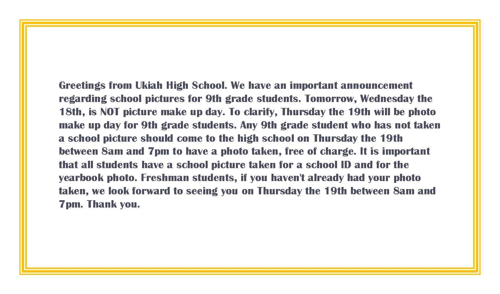 Information for Freshman Make up Photos