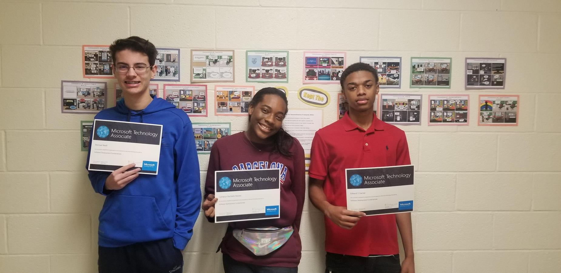 Students Earn Microsoft Certification for passing the MTA 98-361 Software Development Fundamentals Exam