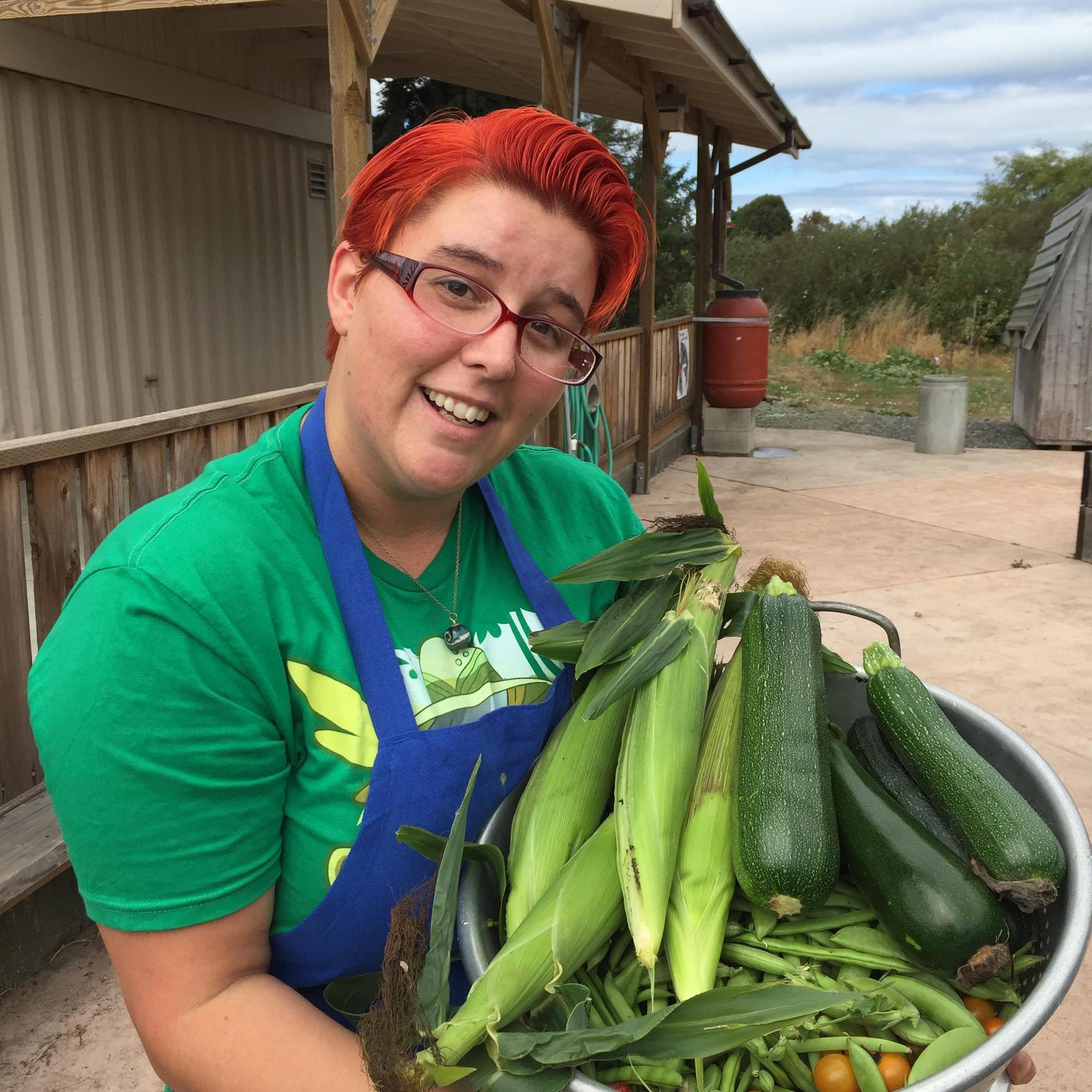 Teacher with veggies from garden