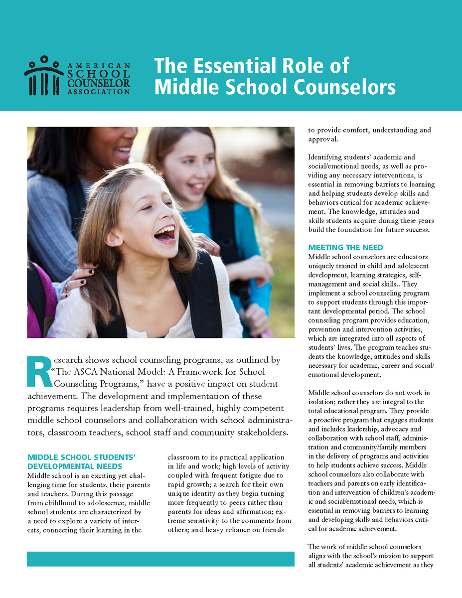 graphic describing the role of middle school counselors