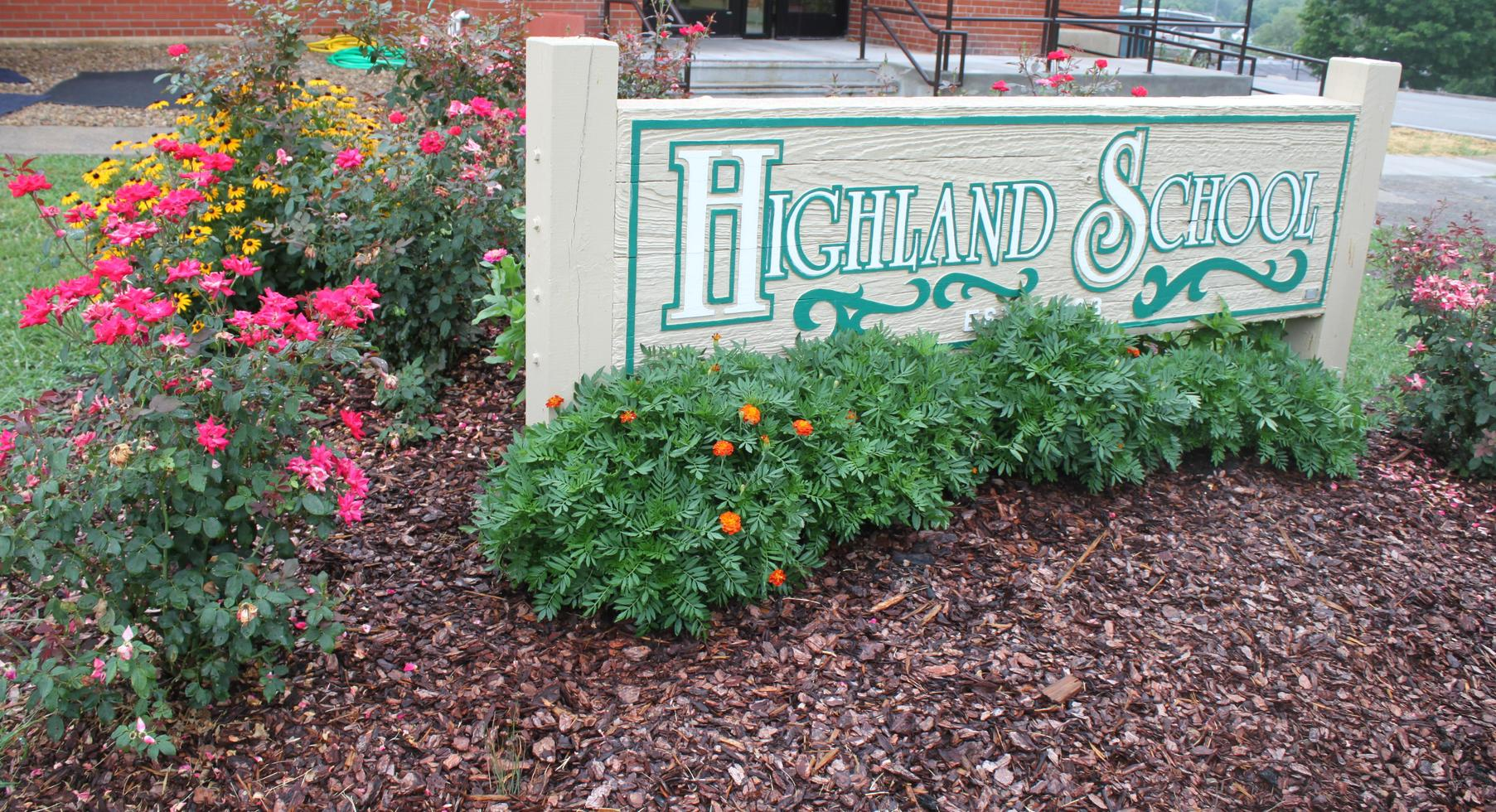 Front sign with flowers