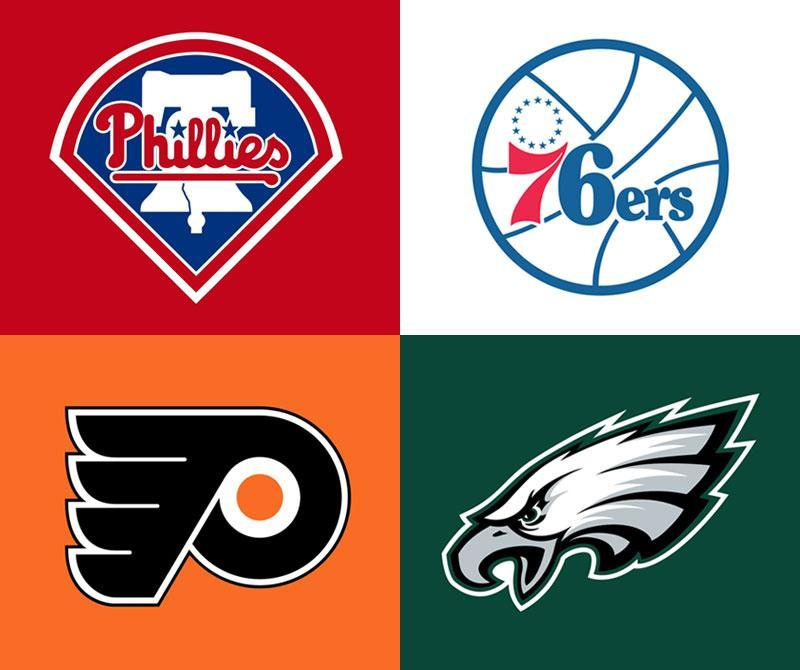 Philadelphia professional sports logos: clockwise from upper left, Phillies, 76ers, Eagles, Flyers.