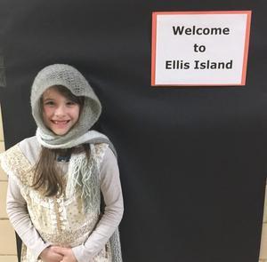 Student at the Ellis Island reenactment