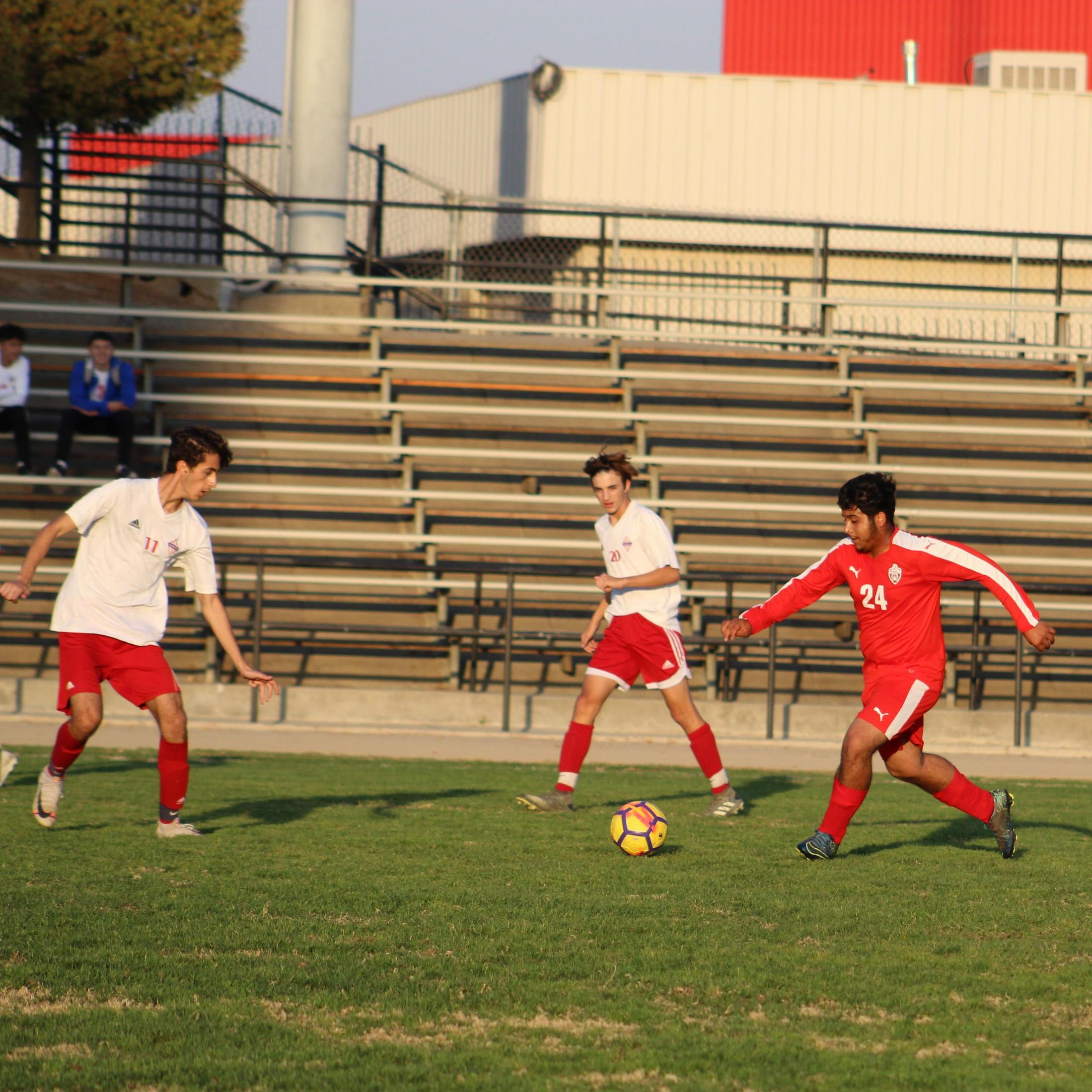 David Flores Chavez about to kick the ball