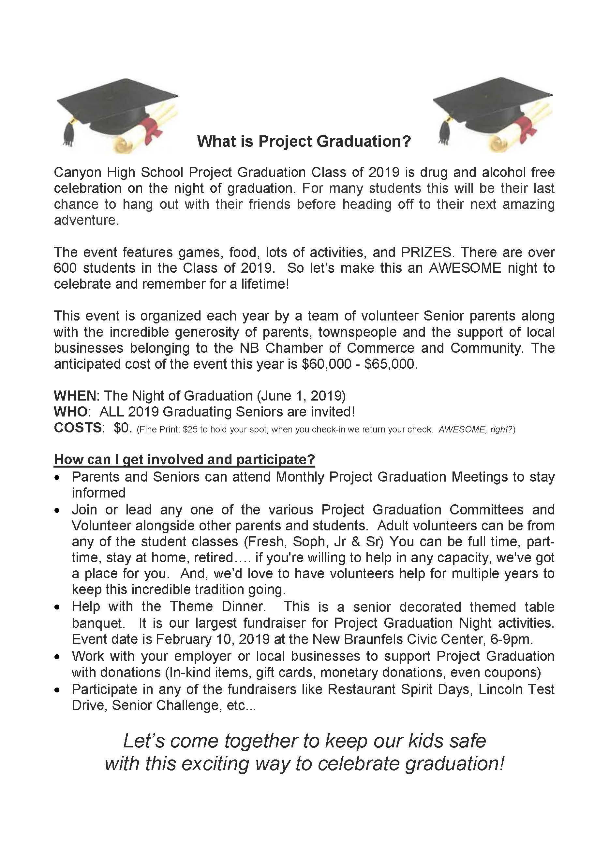 Project Graduation Information