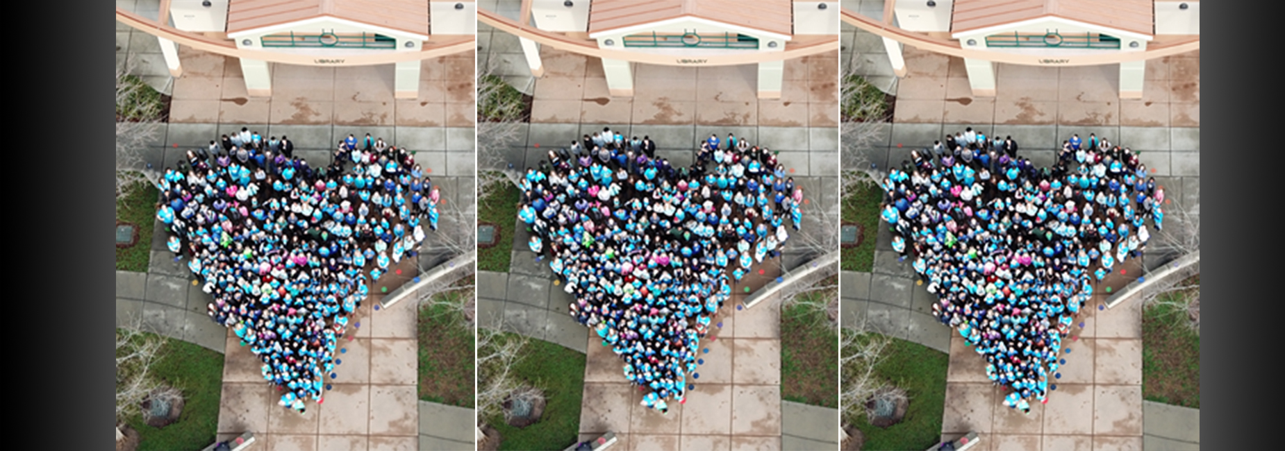 Kindness Day, arial view of kids in heart shape