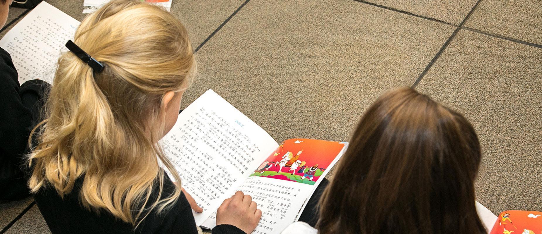 A Child Reads A Mandarin Textbook