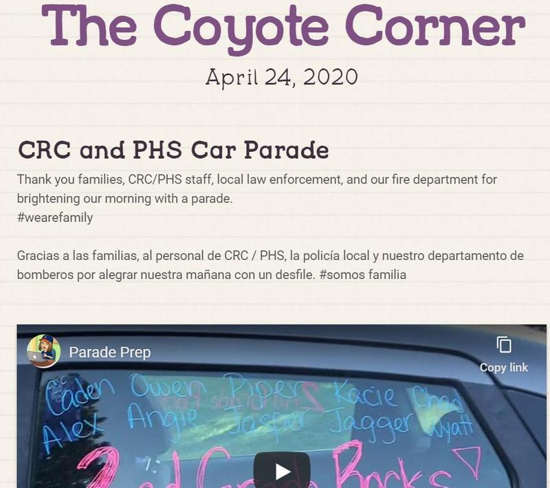 Screenshot of our April 24 Coyote Corner