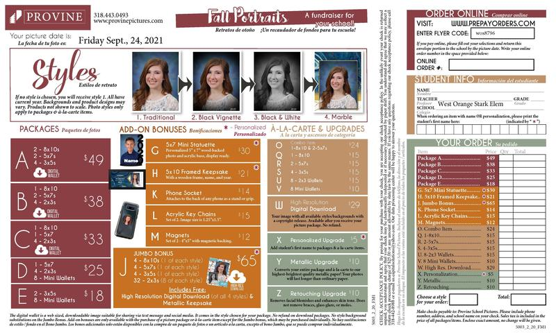 Fall Pictures Order Form from Provine Studio