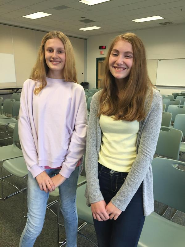 Kate Baldry and Cameron Phillips, both 8th grade students, claimed the middle school spelling bee championship titles.