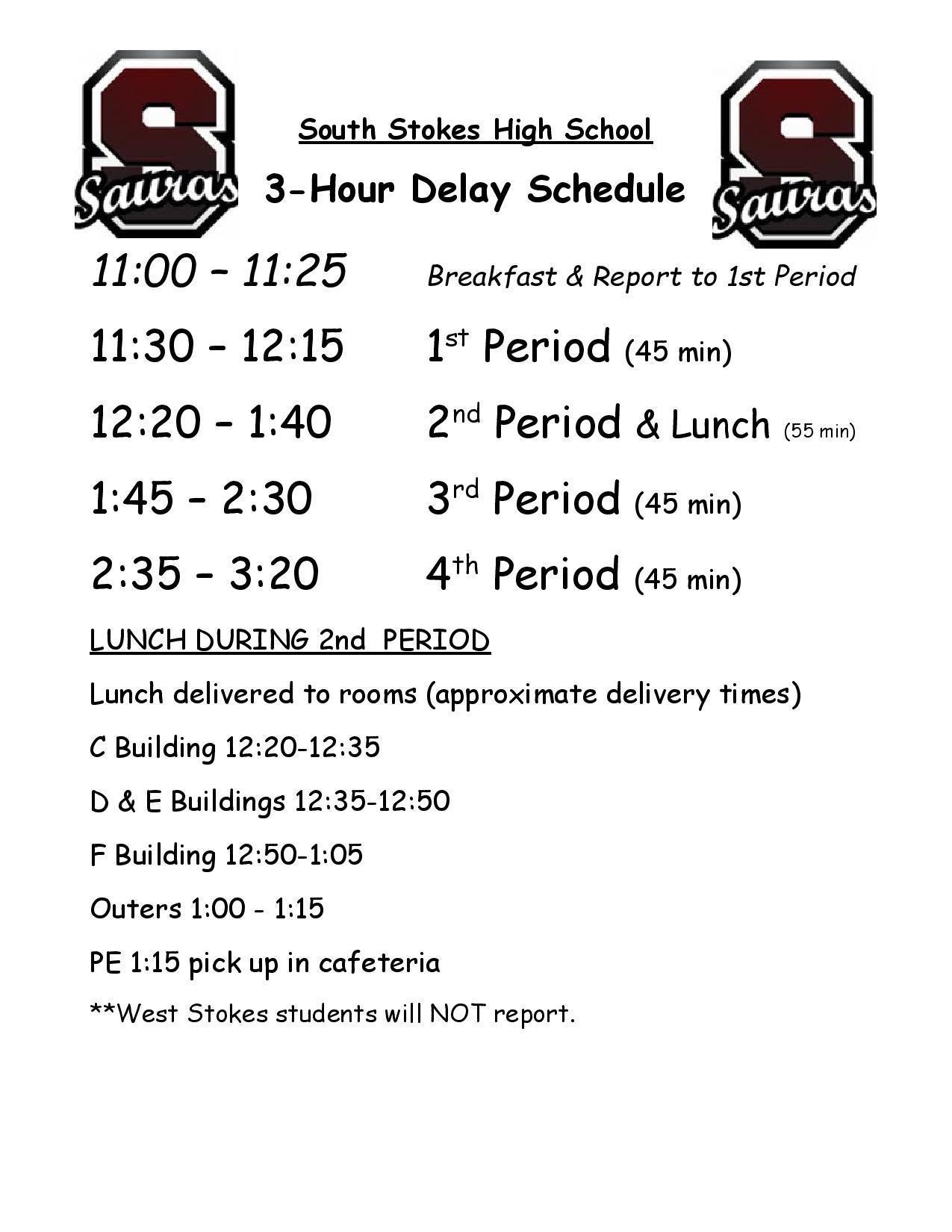2020-2021 3 Hour Delay Bell Schedule