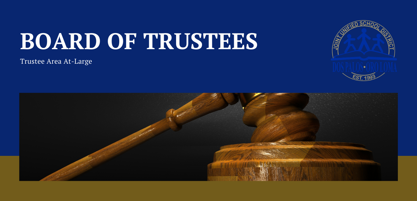 Blue and gold, Board of Trustees At-Large caption with wooden gavel and round base