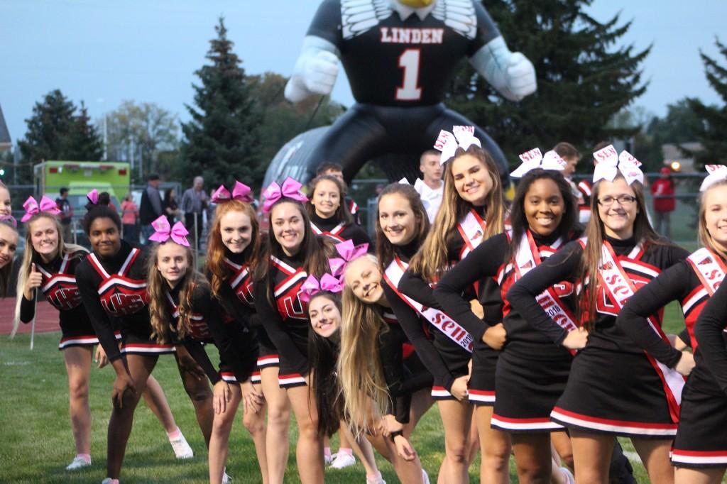 Cheerleaders standing in a line