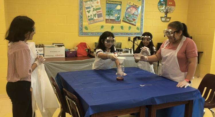 Students making elephant toothpaste