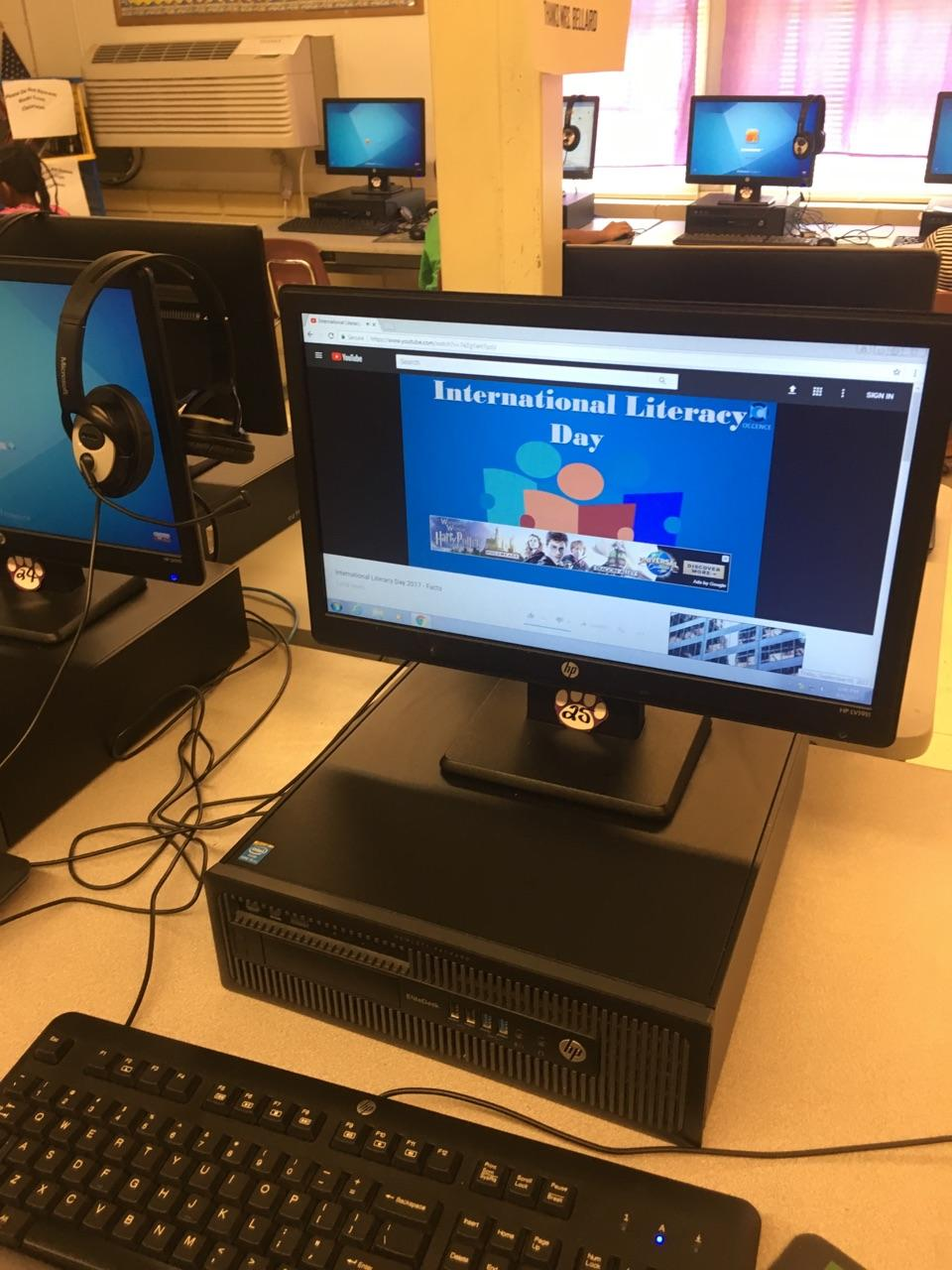 Mrs. Bellard shared a video about International Literacy Day with her students in the computer lab on International Literacy Day.