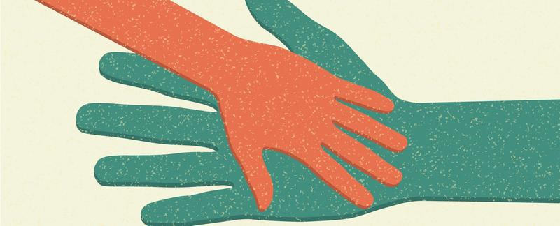 Illustration of two hands touching