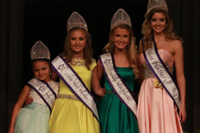 Pictured from left to right are Wee Miss Panther 2020 Kiya Ma'nik Wootton, Little Miss Panther 2020 Layla Frances Cockrell, Young Miss Panther 2020 Sawyer Melane Buzhardt, and Miss Panther 2020 Lauren Patterson Caughman. Pic is courtesy of P3 Media, LLC.