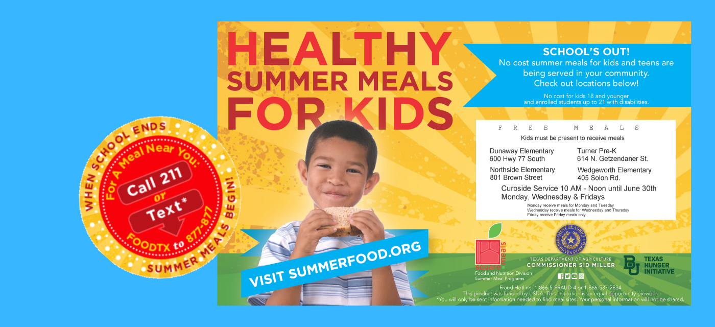 graphic with summer meal program details