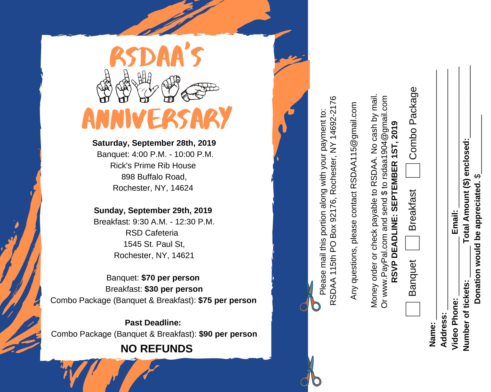RSDAA 115th Anniversary Invitation page 1