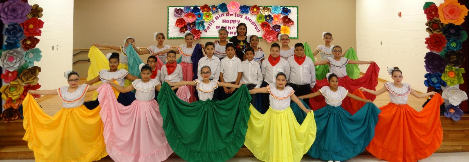 Folklorico group with Mrs. B. Garcia