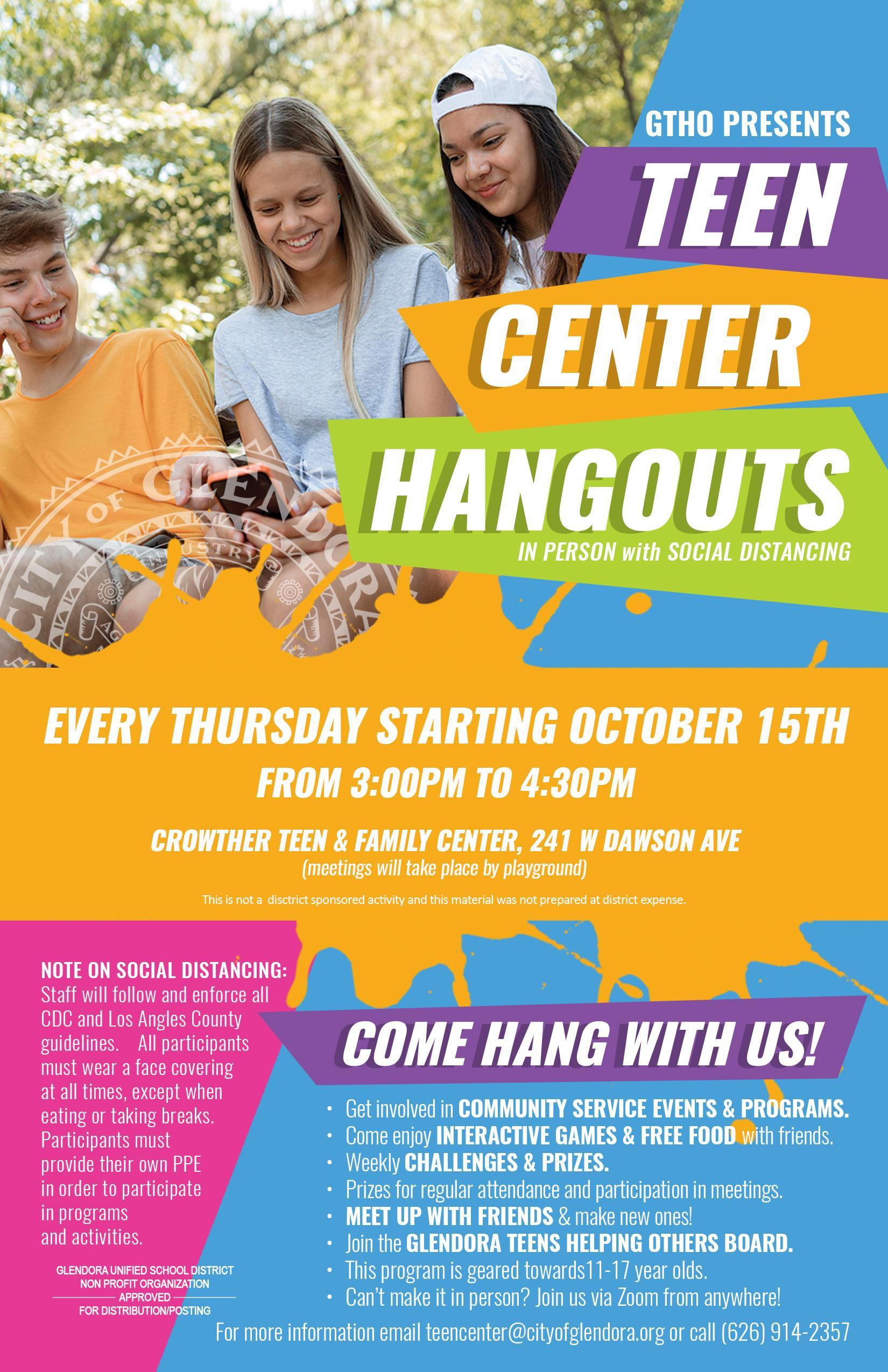 City Teen Center Hangout Flyer