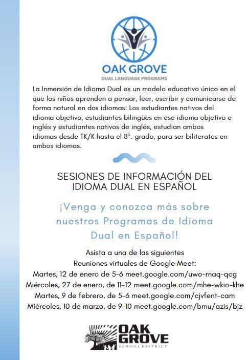 Dual Language Flyer Spanish