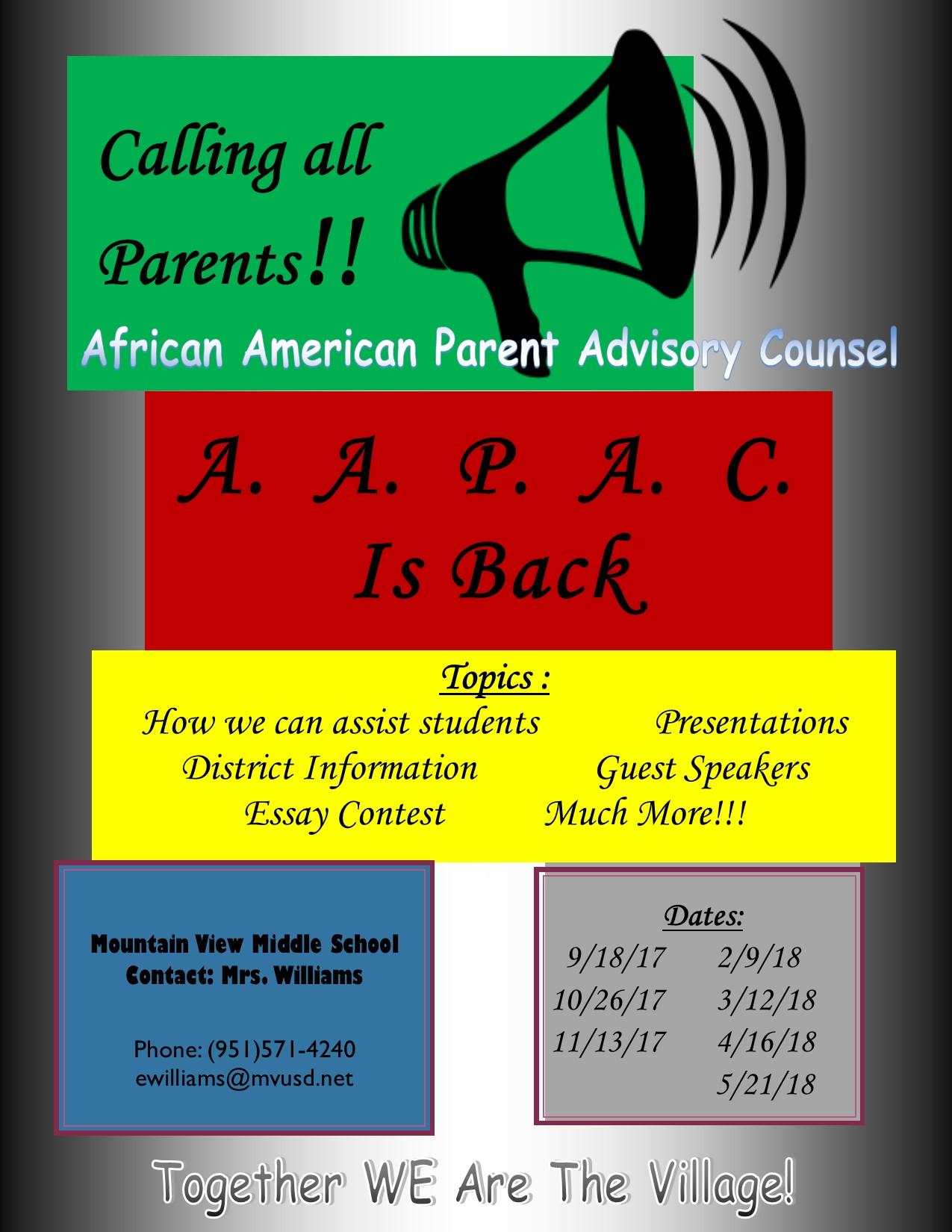 African American Advisory Council Meeting Dates