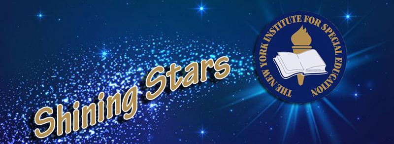 Logo of the shining stars program. NYI logo with a stars background